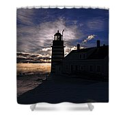 Sea Smoke At West Quoddy Head Lighthouse Shower Curtain