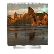 Sea Stacks And The City Shower Curtain