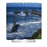 Sea Stacks Central Coast Near Rockport California Shower Curtain