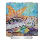 Sea Star-abalone-snail Shell Shower Curtain
