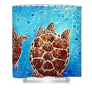 Sea Turtles Swimming Towards The Light Together Shower Curtain
