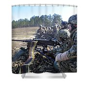 Seabees Fire The M2 .50-caliber Machine Shower Curtain