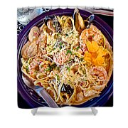 Seafood Fetticinni Alfredo At Cafe Cups Restaurant In Homer-ak   Shower Curtain