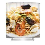 Seafood Pasta Dish Shower Curtain