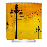 Seafront Sunset Shower Curtain