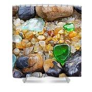 Seaglass Art Prints Coastal Beach Sea Glass Shower Curtain by Baslee Troutman