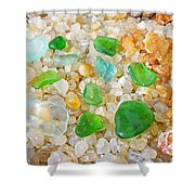 Seaglass Green Art Prints Agates Beach Garden Shower Curtain