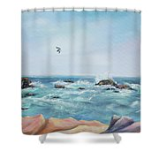 Seagull Over The Ocean Shower Curtain