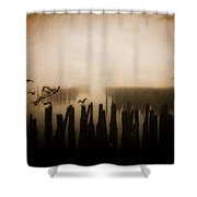 Seagulls Of Old Pilings Portland Maine Shower Curtain
