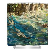 Seagulls Over The Rough Sea Shower Curtain