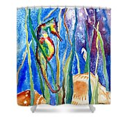 Seahorse And Shells Shower Curtain