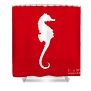 Seahorse In Red And White Shower Curtain