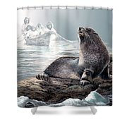 Harp Seal And Native Hunters Shower Curtain