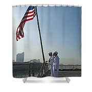 Seamen Participate In Morning Colors Shower Curtain