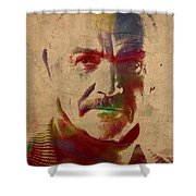 Sean Connery Actor Watercolor Portrait On Worn Distressed Canvas Shower Curtain