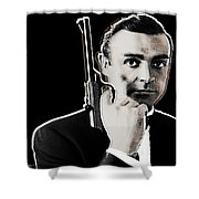 Sean Connery James Bond Square Shower Curtain by Tony Rubino