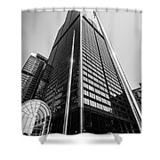 Sears Willis Tower Chicago Black And White Picture Shower Curtain