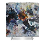 Seascape Abstract Painting Blue Purple Orange Acrylic Painting Shower Curtain