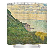 Seascape At Port En Bessin Normandy Shower Curtain by Georges Seurat