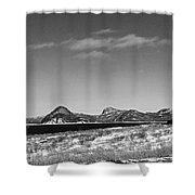 Seascape - Panorama - Black And White Shower Curtain