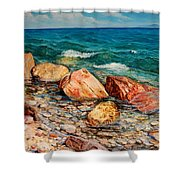 Seascape - Red Rocks  Shower Curtain