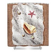 Seashell Pearls And Water Drops Collection Shower Curtain