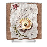 Seashell With The Pearl Sea Star And Seaweed  Shower Curtain