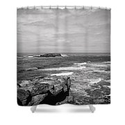 Seaside Bluff Bw Shower Curtain