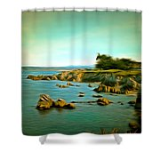 Seaside In The Distance Digital Shower Curtain