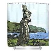 Seaside Moai Shower Curtain