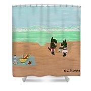 Seaside Scotties Shower Curtain