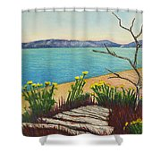Seaside Island Beach With Flowers Shower Curtain