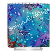 Season Greetings - Snowflakes Shower Curtain
