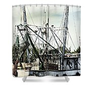 Seasoned Fishing Boat Shower Curtain by Debra Forand