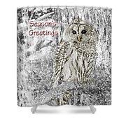Season's Greetings Card Winter Barred Owl Shower Curtain