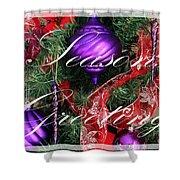 Seasons Greetings - Greeting Card - Purple - Red - Gold Shower Curtain