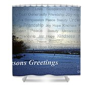 Seasons Greetings Wishes Shower Curtain