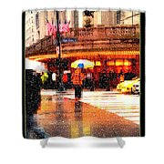 Season's Greetings - Yellow And Blue Umbrella - Holiday And Christmas Card Shower Curtain