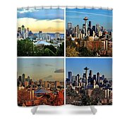Seasons Of Seattle White Shower Curtain
