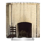 Seat By The Hearth Shower Curtain by Margie Hurwich