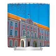 Seat Of Parliament In Old Town Tallinn-estonia Shower Curtain