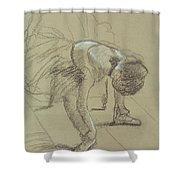 Seated Dancer Adjusting Her Shoes Shower Curtain
