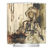 Seated Figure Woman Seated, Wearing Shower Curtain