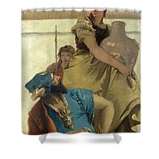 Seated Man Woman With Jar And Boy Shower Curtain