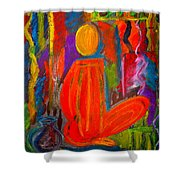 Seated Monk Shower Curtain