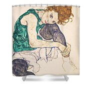 Seated Woman With Legs Drawn Up. Adele Herms Shower Curtain