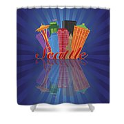 Seattle Abstract Skyline Reflection Background Illustration Shower Curtain