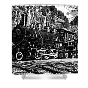Seattle City Light Train In Bw Shower Curtain