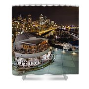 Seattle City Skyline And Marina At Night Shower Curtain