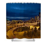 Seattle City Skyline At Blue Hour Shower Curtain